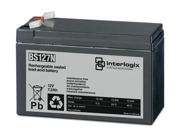 Interlogix BS127N Rechargeable Battery | Battery Backup 12V 7.2Ah